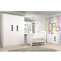 Quarto de Bebê com Berço Dan + Guarda Roupa 4 Portas + Cômoda Livia - Phoenix Baby -