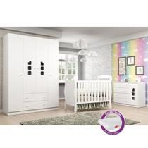 Quarto de Bebê com Berço J 0062 + Colchão + Guarda Roupa 4 Portas, Cômoda Livia - Phoenix Baby -