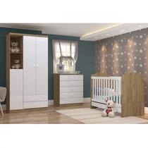 Quarto de Bebê com Guarda Roupa 3 Portas Cômoda e Berço Faz de Conta Espresso Móveis Branco/Rústico -