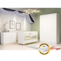 Quarto de Bebê  com Guarda Roupa 4 Portas + Cômoda Ana Helena + Berço Mini Cama - EM Moveis Branco - Phoenix