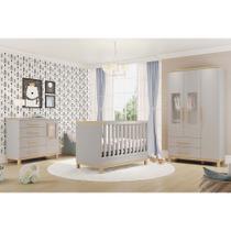 Quarto de Bebê com Guarda Roupa Infantil 3 Portas, Cômoda com 4 Gavetas e Berço Louis Móveis Peroba -