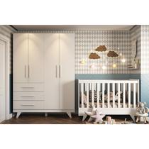 Quarto de Bebê com Guarda Roupa Infantil 4 Portas Lisas e Berço Mini Cama Retrô Móveis Peroba -