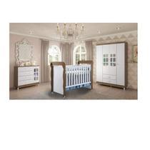 Quarto de Bebê com Guarda Roupas 4 Portas, Cômoda, Fraldário e Berço Mini Cama Ariel Mirelle Siena Móveis Branco/Amadeirado -