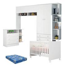 Quarto de Bebê com Nicho e Módulo Doce Sonho Branco Brilho com Colchão Ortobom Physical  Qmovi -