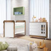 Quarto de bebê Cômoda 4 Gavetas com Porta Ariel Berço Mini Cama Mirelle Br Amadeirado Carolina Baby -