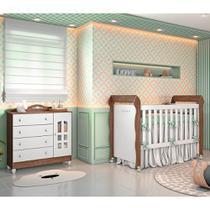 Quarto de Bebê Cômoda 4 Gavetas com Porta Berço Mini Cama Provençal Lisa Br Fosco Amadeirado Carolina Baby -