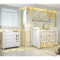 Quarto de Bebê Cômoda 4 Gavetas com Porta Berço Mini Cama Provençal Lisa Branco Brilho Carolina Baby -