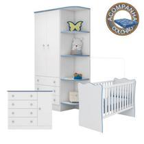 Quarto de Bebê Completo Berço Colchão Physical Guarda Roupa Cômoda Doce Sonho Br.Azul Qmovi Ortobom -