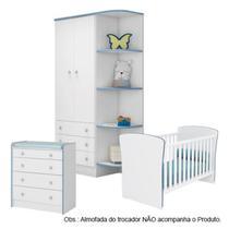 Quarto de Bebê Completo Berço Guarda Roupa Cômoda Doce Sonho Br.Azul Qmovi -