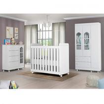 Quarto de Bebê Completo Berço,Guarda Roupa,Cômoda Portugal Móveis Bonatto Branco -