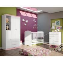 Quarto de Bebê Completo com Berço, Cômoda e Guarda-roupa Henn Bala de Menta - Branco -