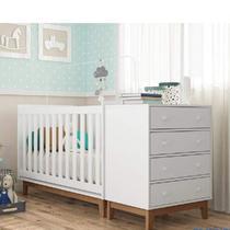 Quarto de Bebê Completo com Berço e Cômoda Retrô Espresso Móveis Branco -