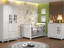 Quarto de Bebê Completo com Berço + Guarda Roupa - e Cômoda Carolina Baby Maria