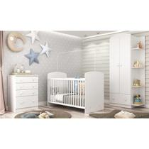 Quarto de Bebê Completo com Berço Guarda-Roupa e Cômoda Multimóveis Confete Luiza -