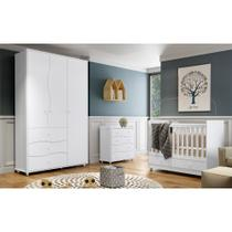 Quarto de Bebê Completo com Berço Mini-cama Aquarela, Cômoda e Guarda-roupa Adoleta - Branco - Henn