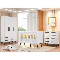 Quarto de Bebê Completo Com Berço Mini-cama, Cômoda e Guarda-roupa Retrô Qmovi - Branco -