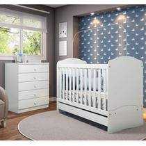 Quarto de Bebê Completo com Berço Mini Cama e Cômoda Faz de Conta Espresso Móveis Branco -