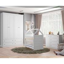Quarto de Bebê Completo Com Berço Montessoriano, Cômoda E Guarda-roupa Americano Henn - Branco Fosco -