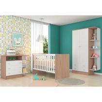 Quarto de Bebê Completo com Guarda-roupa 2 Portas, Berço e Cômoda Doce Sonho Qmovi - Carvalho Rústico/Branco -