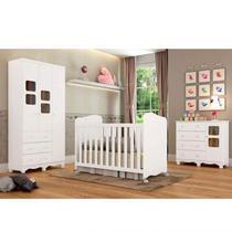 Quarto de Bebê Completo com Guarda Roupa 3 Portas 1 Berço 1 Cômoda Uli Móveis Peroba Branco Brilho -