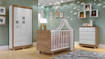 Quarto de Bebê Completo com Guarda Roupa 3 Portas, Cômoda e Berço Life  Móveis Branco/Naturale - Tigus Baby