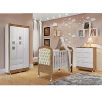 Quarto de Bebê Completo com Guarda Roupa 3 Portas, Cômoda e Berço Mini Cama Allegra  Móveis Cru Branco/Naturale - Tigus Baby