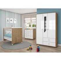 Quarto de Bebê Completo com Guarda Roupa 3 Portas, Cômoda e Berço Mini Cama Benjamin Espresso Móveis Rústico/Branco -