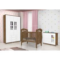 Quarto de Bebê Completo com Guarda Roupa 4 Portas, Cômoda Jolie e Berço Pimpão J&A Móveis Branco/Jequitibá -