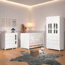 Quarto de Bebê Completo com Mini Cama Cômoda Berço Katatau Reller Branco Brilho -