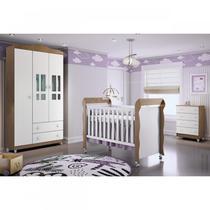 Quarto de Bebê Completo Guarda Roupa 3 Portas, Cômoda e Berço Mirelle Carolina Baby Branco/Amadeirado -