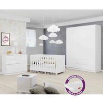 Quarto de Bebe Completo - Guarda Roupa 4 portas + Comoda + Berço Mini cama + Colchão - Phoenix Baby -