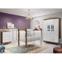 Quarto de Bebê Completo Guarda Roupa 4 Portas, Cômoda e Berço Lila Carolina Baby Branco/Amadeirado -