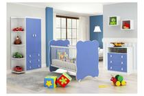 Quarto de Bebê Completo: Guarda-roupa + Cômoda 3 Gavetas + Berço Com Rodinhas- Branco/Azul - Percasa