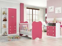 Quarto de Bebê Completo: Guarda-roupa + Cômoda com 3 Gavetas + Berço- Rosa/Branco - Percasa