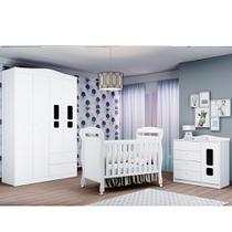 Quarto de Bebê Crytal Com Guarda Roupa 4 Portas + Cômoda + Berço Mini Cama - Reller -