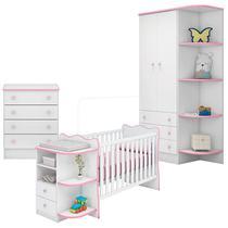 Quarto de Bebê Doce Sonho 105 com Cômoda 103 e Berço Cantoneira 101 Branco Rosa Brilho  Qmovi -