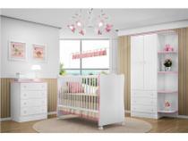 Quarto de Bebe Doce Sonho c/ Berço 102 Branco/Rosa  QMovi -