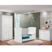 Quarto de Bebê Doce Sonho com Guarda Roupa 3 Portas, Cômoda Sapateira e Berço Mini Cama Qmovi Branco/Azul -