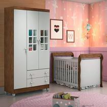 Quarto de Bebê Guarda Roupa 3 Portas Ariane Berço 3 em 1 Lara Br Fosco Amadeirado Carolina Baby -