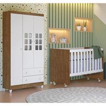 Quarto de Bebê Guarda Roupa 3 Portas Ariane Berço Americano Gabi Br Fosco Amadeirado Carolina Baby -