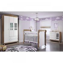 Quarto de Bebê Guarda Roupa 3 Portas, Cômoda Fraldário e Berço Mirelle Carolina Baby Branco/Amadeirado -