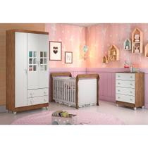 Quarto de Bebê Guarda Roupa 3P Ariane Cômoda 4 Gavetas Berço 3 em 1 Lara Amadeirado Carolina Baby -