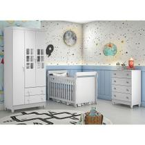 Quarto de Bebê Guarda Roupa 3P Ariane Cômoda 4 Gavetas Berço 3 em 1 Lara Branco Carolina Baby -
