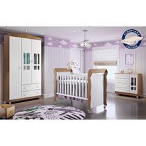 Quarto de Bebê Guarda Roupa 3P Cômoda Ariel Berço Mini Cama c/ Colchão Mirelle Amad Carolina Baby -