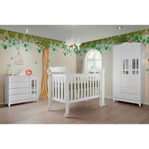 Quarto de Bebê Guarda Roupa 3P Cômoda com Fraldário Ariel Berço 3 em 1 Lila Branco Carolina Baby -