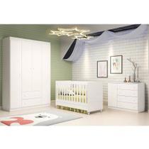 Quarto de Bebê - Guarda Roupa 4 Portas + Cômoda Ana Helena + Berço Mini Cama - EM Moveis - Phoenix