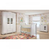 Quarto de Bebê Guarda Roupa 4 Portas, Cômoda Fraldário e Berço Mirelle Carolina Baby Branco Brilho -