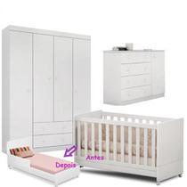 Quarto de Bebê Helena Guarda Roupa + Cômoda + Berço Mini Cama - EM Móveis - Emmoveis