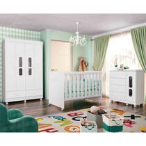 Quarto de Bebê Katatau Com Guarda Roupa 4 Portas + Cômoda + Berço  - Reller -