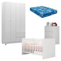 Quarto de Bebê Louise 4 Portas com Berço Doce Sonho 100 Branco Brilho e Colchão - AJL - AJL Móveis